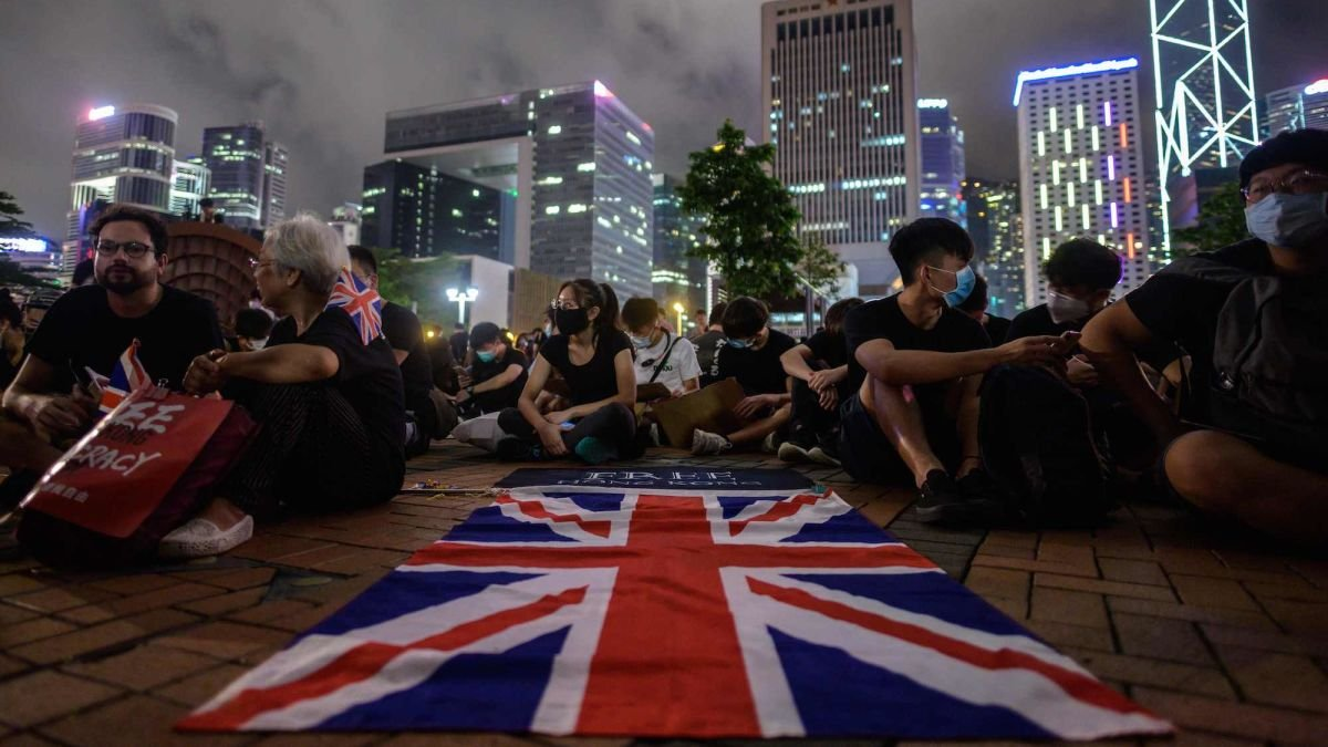 Hong Kong residents with british flag