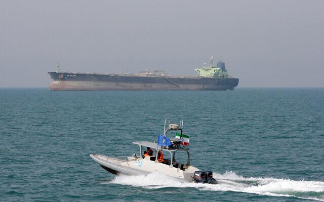 Oil tanker and Iranian patrol boat